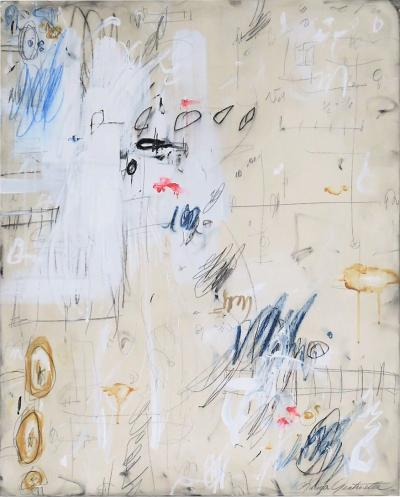 Karina Gentinetta Consequential Small Acrylic Oil Pastels and Pencil Abstract Painting 30 x24