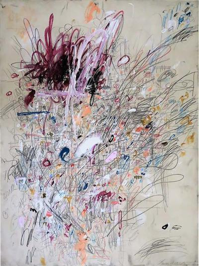 Karina Gentinetta Divine Madness Abstract Acrylic Oil Pastels and Pencil Painting 48 x36