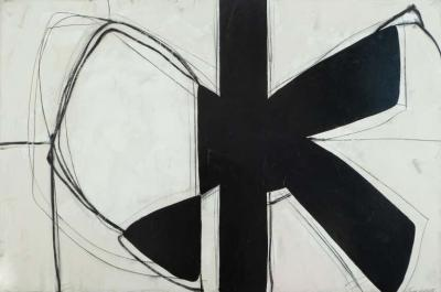 Karina Gentinetta Form Over Function Black and White Abstract Painting with Plaster Relief 2020