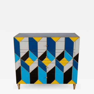 Karina Gentinetta Geometric Blue Ivory Black and Yellow Glass with Brass Inlay Commode Spain