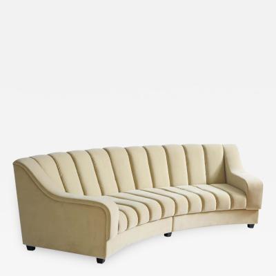 Karina Gentinetta Modular 2 Piece Segmented Curved Sofa in Buff or Beige Velvet Italy 2019