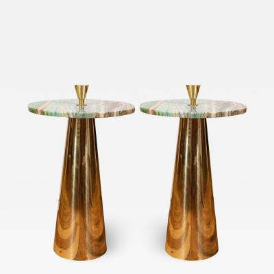 Karina Gentinetta Pair of Round Emerald Green Onyx Marble and Brass Side Tables Milan Italy 2019
