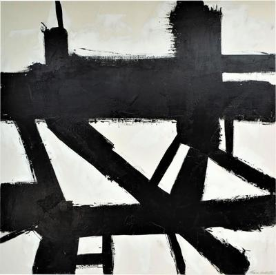 Karina Gentinetta Unfiltered Large Black and White Abstract Painting with Plaster Relief 60 x60