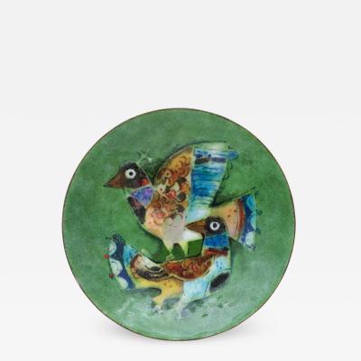 Karl Drerup Enamel tray of multi color birds by Karl Drerup