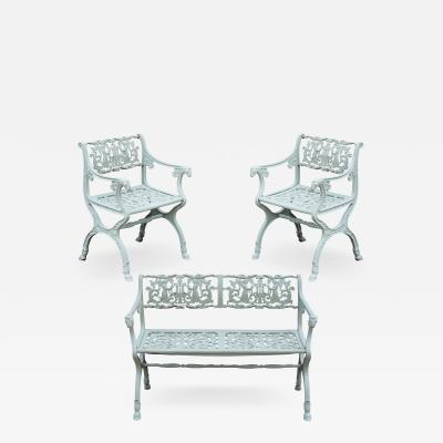 Karl Friedrich Schinkel 19th Century Neoclassical American Iron Furniture Suite of Armchairs and Sett e