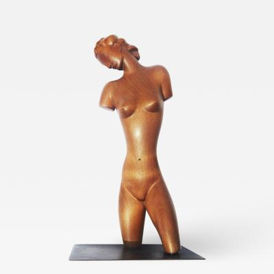 Karl Hagenauer Art Deco Carved Wooden Nude Sculpture by Karl Hagenauer