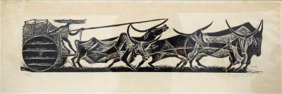 Karl Heinz Hansen Bahia Karl Heinz Hansen Bahia Big Team of Oxen Woodcut Print 1959