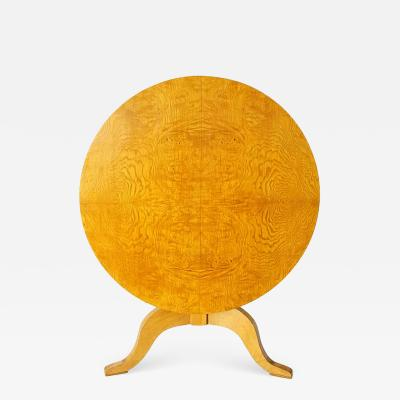 Karl Johan Burled Birch Root Round Tilt Top Table