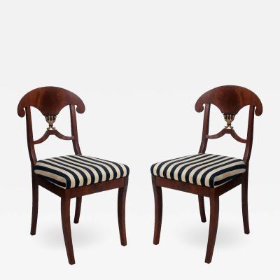 Karl Johan Pair of Swedish Mahogany Karl Johan Biedermeier Side Chairs circa 1825
