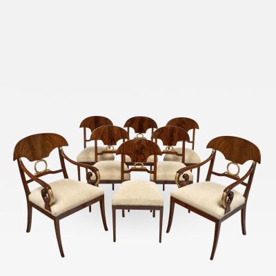 Karl Johan Swedish Antique Set of Flamed Dining Chairs