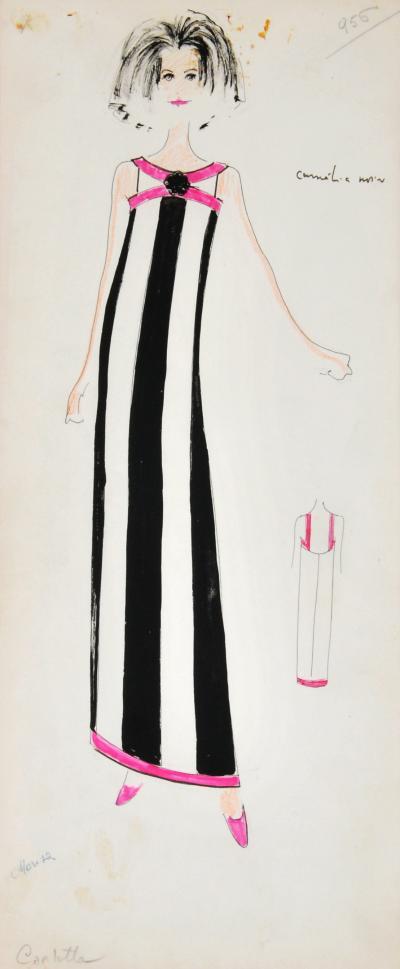 Karl Lagerfeld Original Framed Karl Lagerfeld Fashion Drawing