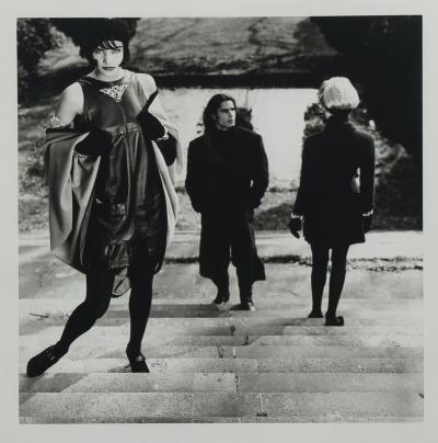Karl Lagerfeld Original photograph of Helena Christensen on steps by Karl Lagerfeld