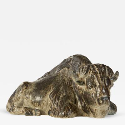 Karl Larsen A Large Danish Stoneware Sculpture of a Buffalo