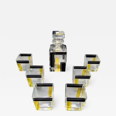 Karl Palda Art Deco Decanter Drinking Whiskey Set Karl Palda Style