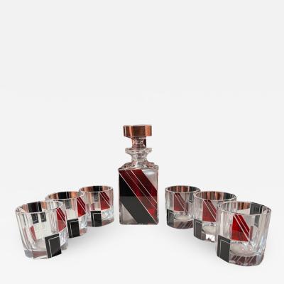 Karl Palda Art Deco Decanter and Whiskey Set in Style of Karl Palda