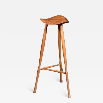 Karl Seemuller Karl Seemuller studio craft teak stool USA 1973