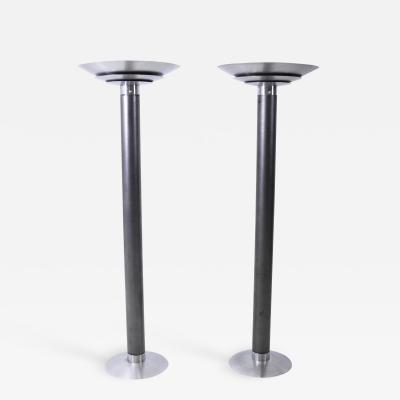 Karl Springer 1970 s Stainless Steel Oversized Torchiere Floor Lamps