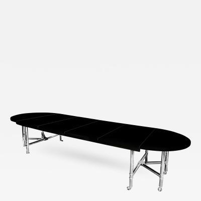 Karl Springer A Karl Springer Black Lacquered Dining Table