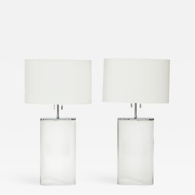 Karl Springer A Pair of Karl Springer Large Lucite Table Lamps Circa 1982 84