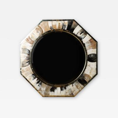 Karl Springer A large octagonal horn mirror in the manner of Karl Springer New