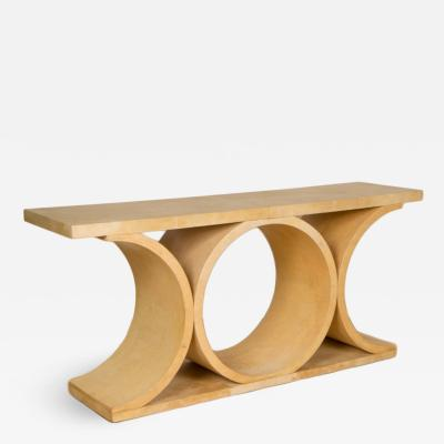 Karl Springer A large parchment console in the style of K Springer New
