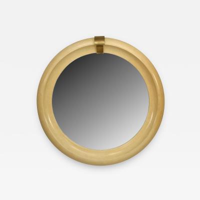Karl Springer American Mid Century Modern Large Round Mirror
