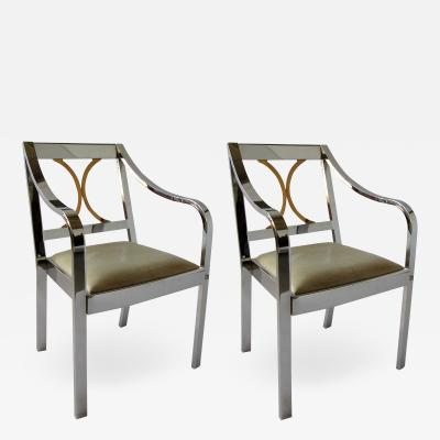 Karl Springer American Modern Armchair in Polished Steel and Brass
