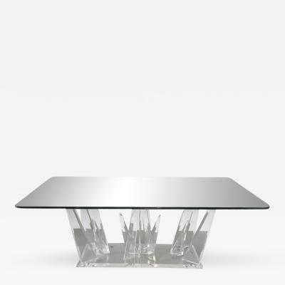 Karl Springer American Modern Lucite and Glass Dining or Center Table Style of Karl Springer