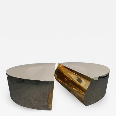 Karl Springer American Modern Stainless Steel Bronze Center Freeform Cocktail Table