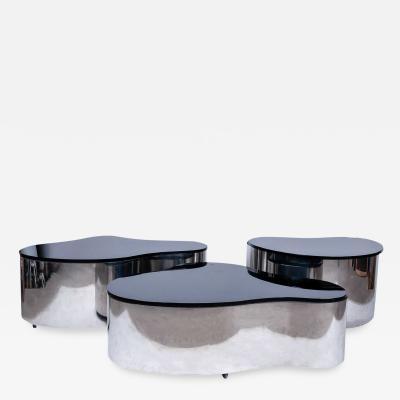 Karl Springer An Important Set of 3 Karl Springer Polished Stainless Free Form Tables