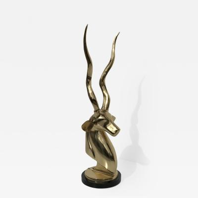 Karl Springer Art Deco Style Brass Decorative Antelope or Kudu Head Bookend