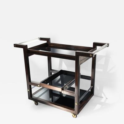 Karl Springer Art Deco Style Macassar Ebony Bar Cart