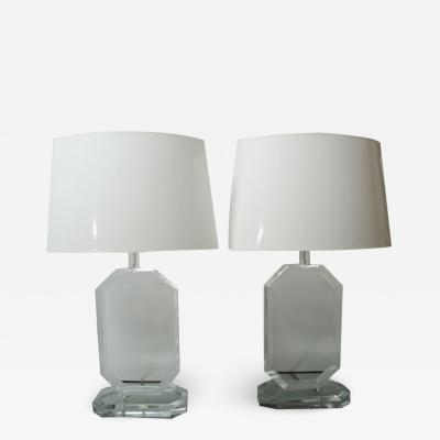 Karl Springer BEAUTIFUL PAIR OF MID CENTURY OCTAGONAL LUCITE LAMPS WITH CUSTOM SHADES