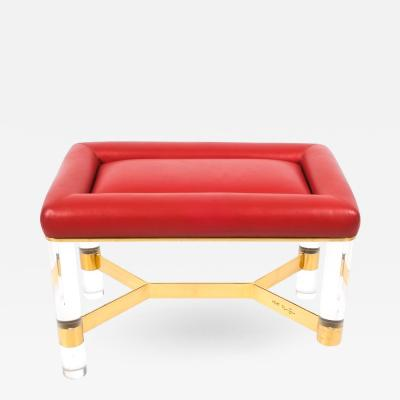 Karl Springer Bench in Leather Brass and Lucite by Karl Springer