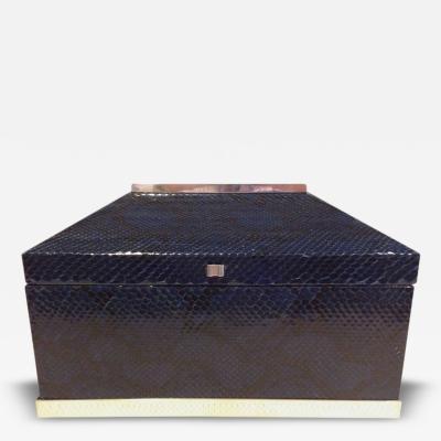 Karl Springer Blue Python Snakeskin Box attributed to Karl Springer