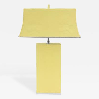 Karl Springer Chic Table Lamp Clad in Yellow Embossed Lizard by Karl Springer