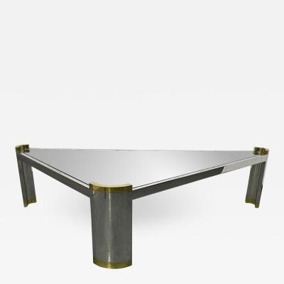 Karl Springer Chrome and Brass Triangular Coffee Table