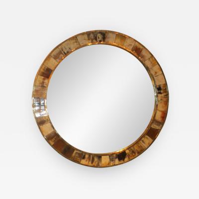 Karl Springer Circular Horn Mirror in the Karl Springer Manner