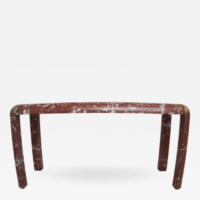 Karl Springer Console Table in Breccia Marble Brass and Glass
