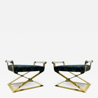 Karl Springer EXCEPTIONAL MODERN PAIR OF BRASS AND LUCITE BENCHES