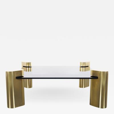 Karl Springer Exceptional Vintage Brass Coffee Table by Karl Springer