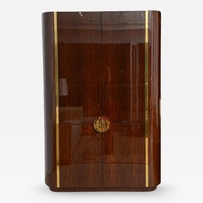 Karl Springer Fine and Monumental Size Karl Springer Mahogany and Brass Inlaid Cabinet