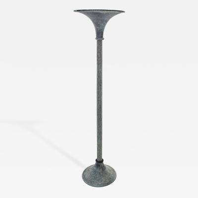 Karl Springer Floor Lamp in Black Scavo Glass by Karl Springer