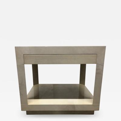 Karl Springer Goatskin Parchment Side Table by Karl Springer