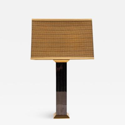 Karl Springer Gunmetal and Brass Signed Table Lamp by Karl Springer