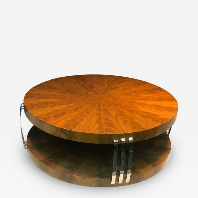 Karl Springer Impressive Art Deco Style Burled Wood Coffee Table in the Style of Karl Springer