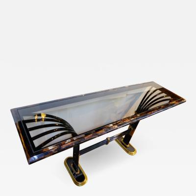 Karl Springer In the Manner of Karl Springer Tesselated Horn Brass Glass Deco Style Console