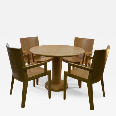 Karl Springer KARL SPRINGER JMK LIZARD EMBOSSED DINING TABLE AND CHAIRS