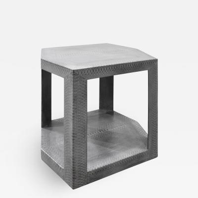 Karl Springer Karl Springer 2 Tier Hexagonal Side Table in Gray Cobra 1985 Signed