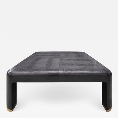Karl Springer Karl Springer Angular Leg Coffee Table In Embossed Leather 1985 Signed